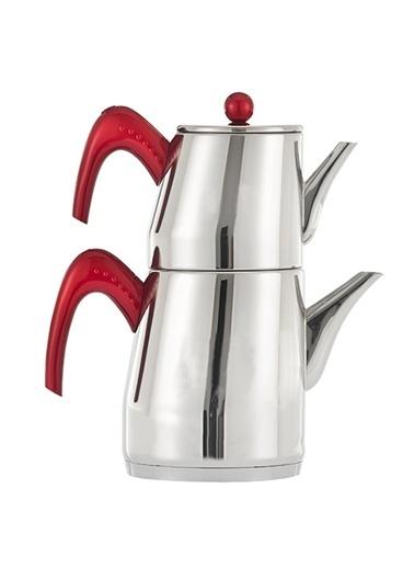 Pisa Küçük Boy Çaydanlık  Kırmızı Kulp-Narin